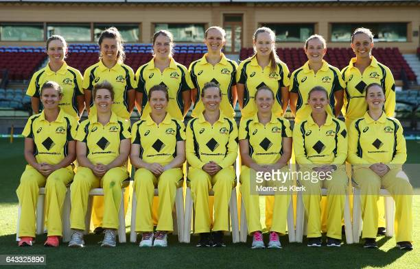 Members of the Australian Womens Cricket Team The Southern Stars pose for a group photograph after a training session at Adelaide Oval on February 21...