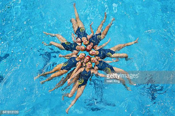 Members of the Australian Women's Rio 2016 Olympic Games Water Polo Team pose during a Australian Women's Olympic Water Polo Team portrait session at...