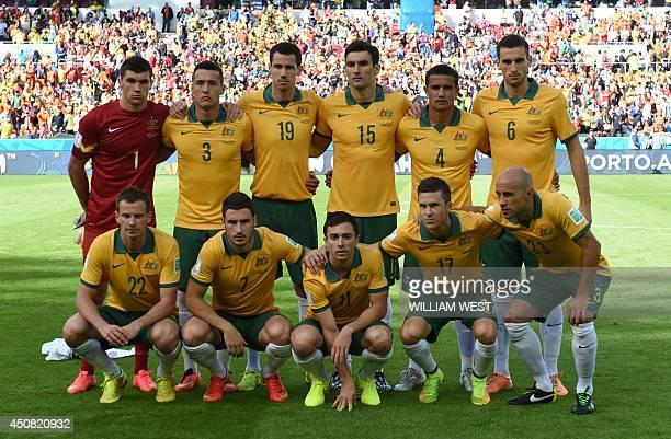 Members of the Australia's national team Australia's goalkeeper Mathew Ryan Australia's defender Jason Davidson Australia's defender Ryan McGowan...