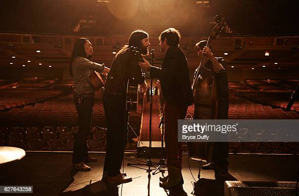 Members of The Avett Brothers are photographed for Rolling Stone Magazine rehearsing and performing sound check on October 9 2013 at the Shrine...