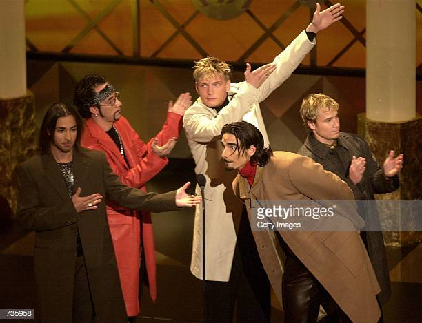 Members of the Backstreet Boys react to the fans during the 28th Annual American Music Awards January 8 2001 in Los Angeles CA