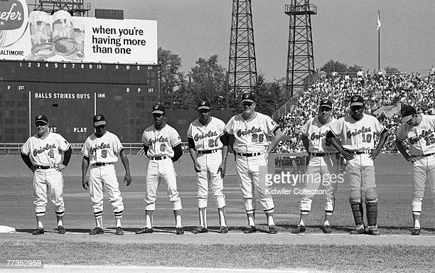 Members of the Baltimore Orioles line up along the thirdbase line prior to the start of Game 1 of the World Series on October 11 1969 against the New...