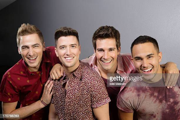 Members of the band Big Time Rush Logan Henderson James Maslow Kendall Schmidt Carlos Pena Jr are photographed for Los Angeles Times on June 15 2013...