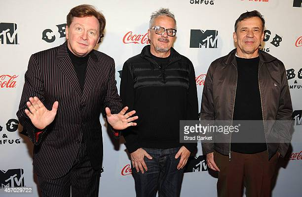 Members of the band Devo Gerald Casale Mark Mothersbaugh and Bob Mothersbaugh attend the 'Hardcore Devo Live' premiere at the CBGB Music Film...