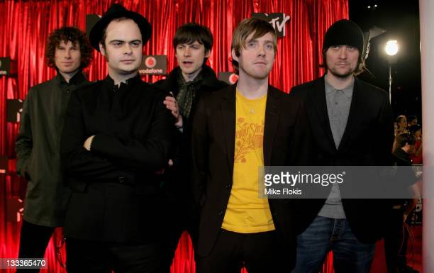 Members of the band Kaiser Chiefs Ricky Wilson Andrew 'Whitey' White Simon Rix Nick 'Peanut' Baines and Nick Hodgson arrive at the Vodafone MTV...