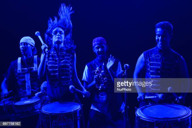Members of the band 'Karacena Batucada' from Sale perform during a concert on the closing day of the National Festival of Street Arts in Fes...
