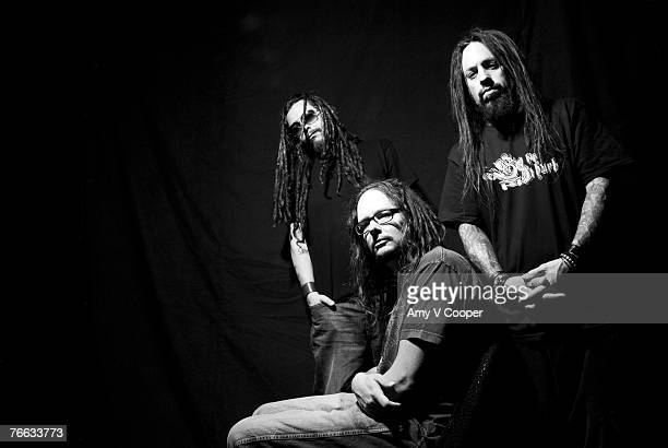 Members of the band Korn pose at a portrait session for MTVcom in New York City Jonathan Davis Reginald Fieldy Arvizu James Munky Shaffer