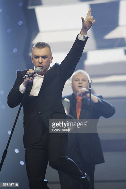 Members of the band LT United from Lithuania perform at the dress rehearsal prior to the semifinals of the 2006 Eurovision Song Contest May 18 2006...