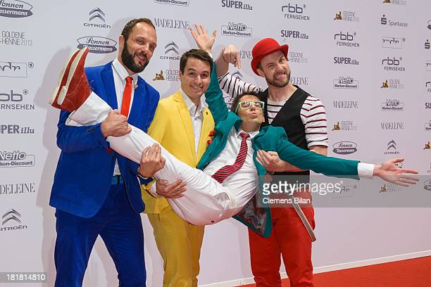 Members of the band Maybe Bob arrive for the Goldene Henne 2013 award at Stage Theater on September 25 2013 in Berlin Germany