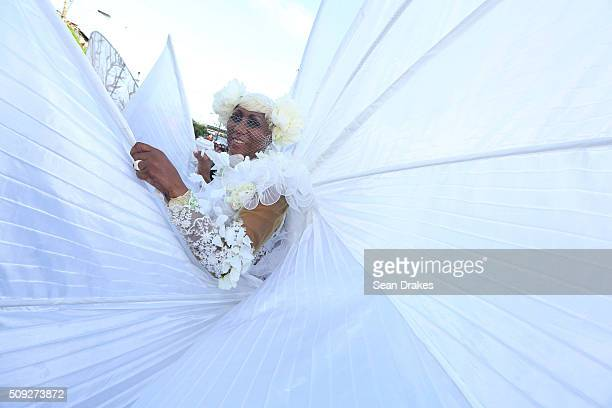 Members of the band 'Searching for ShangriLa' presented by K2K Alliance Partners perform during the Parade of Bands as part of Trinidad and Tobago...