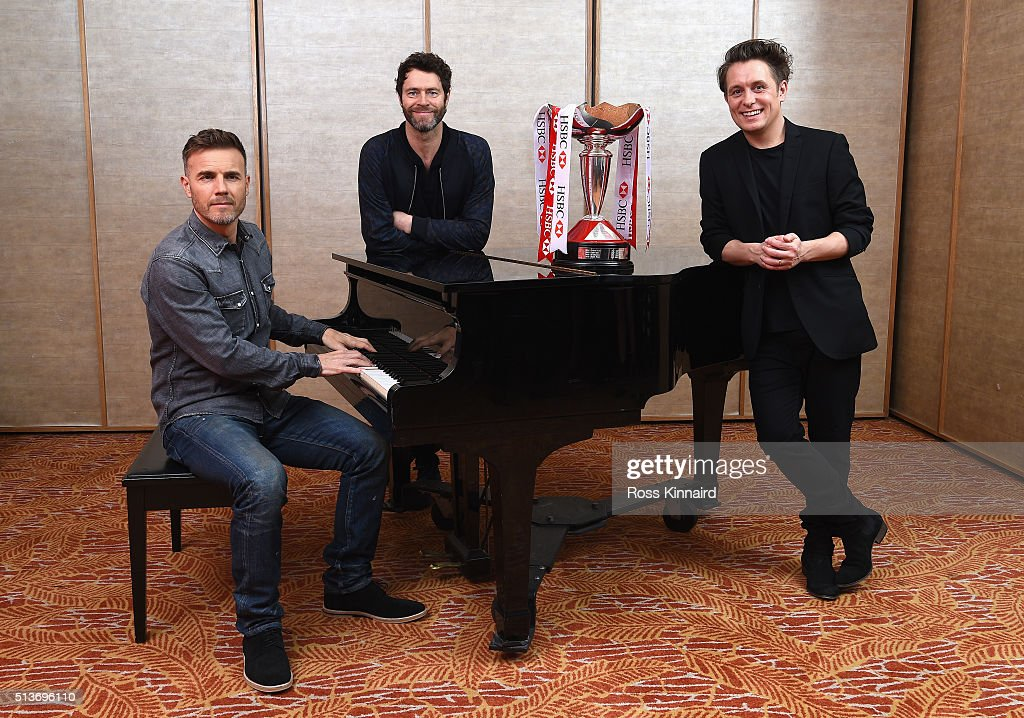 Members of the band Take That (lL-R) Gary Barlow, Howard Donald and Mark Owen pose for a photograph prior to tomorrow's Take That concert at the HSBC Women's Champions at Sentosa Golf Club on March 4, 2016 in Singapore, Singapore.