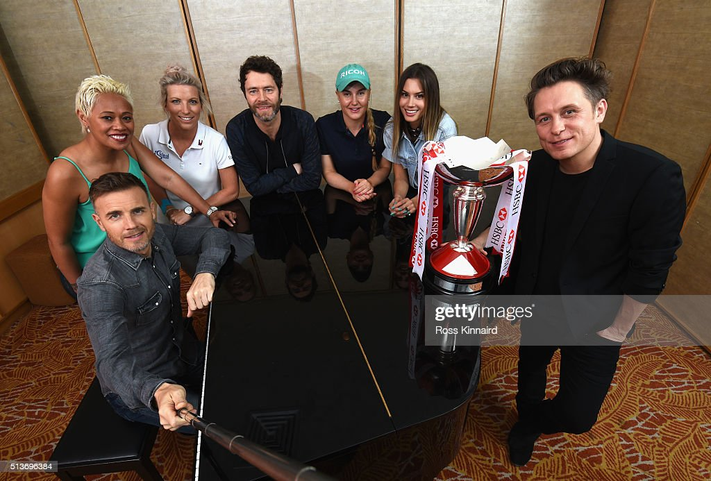 Members of the band Take Thatt meet golfers and celebrities. (L-R) Gary Barlow, chef Monica Galetti, golfer Melissa Reid, Howard Donald, golfer Charley Hull, DJ Jack Novak and Mark Owen pose for a photograph prior to tomorrow's Take That concert at the HSBC Women's Champions at Sentosa Golf Club on March 4, 2016 in Singapore, Singapore.