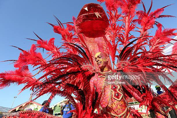 Members of the band 'Tears of ' presented by Ronnie Caro perform during the Parade of Bands as part of Trinidad and Tobago Carnival in the Queen's...