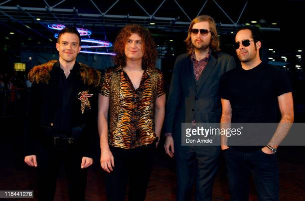 Members of the band The Killers Brandon Flowers Dave Keuning Mark Stoermer and Ronnie Vannucci Jr arrive at the Vodafone MTV Australia Awards 2009 at...