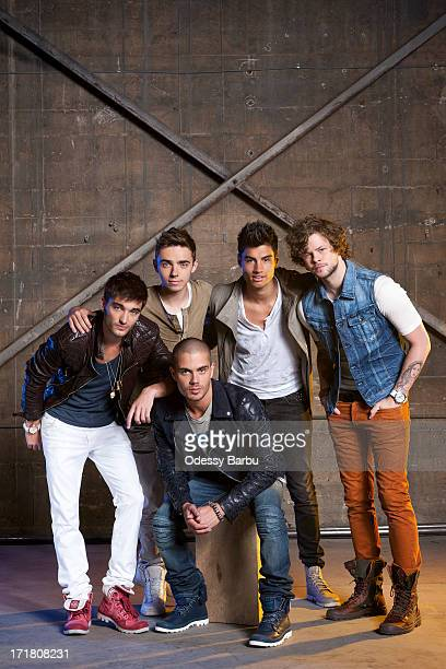 Members of the band the Wanted Max George Nathan Sykes Jay McGuiness Siva Kaneswaran Tom Parker are photographed for YRB Magazine on March 29 2013 in...