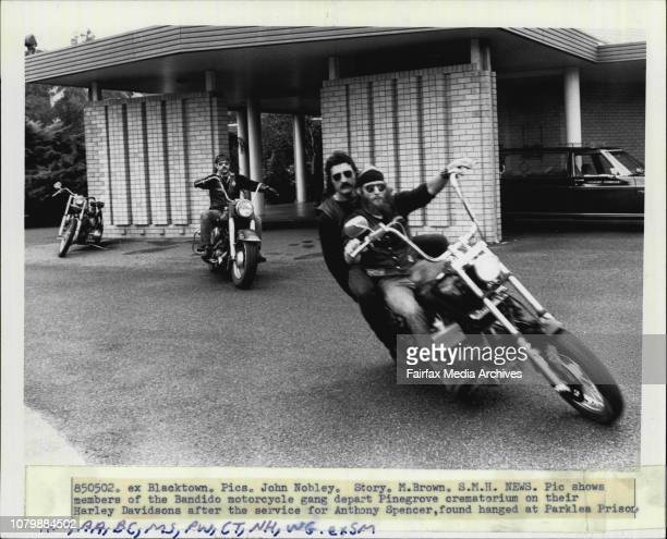 Members of the Bandido motorcycle gang depart Pinegrove crematorium on their Harley Davidsons after the service for Anthony Spencer found hanged at...