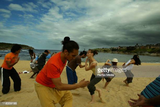 Members of the Bangarra Dance Company rehearse on Malabar Beach for their upcoming performance of Boomerang 17 February 2005