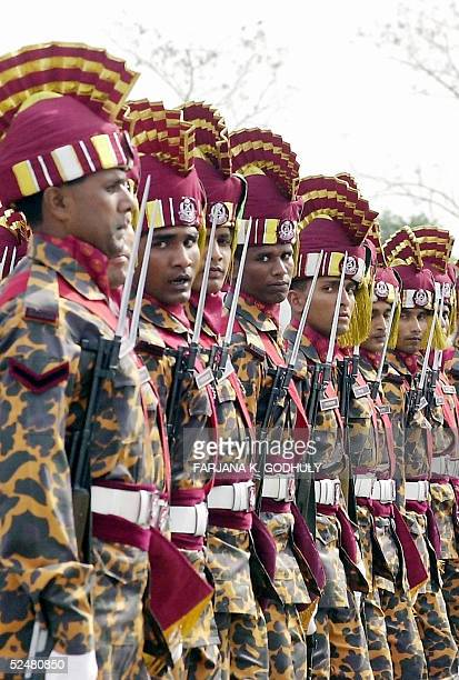 Members of the Bangladeshi police march during the celebrations of the country's 35th Independence Day in Dhaka 26 March 2005 Bangladesh became...
