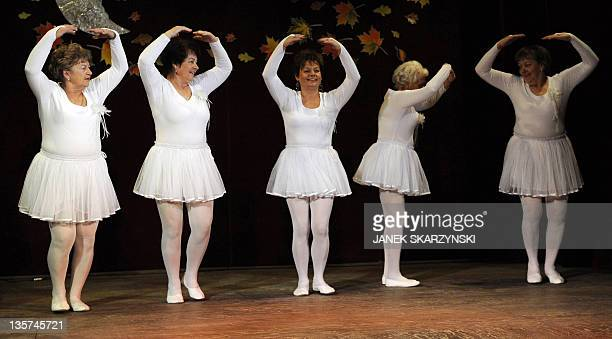 Members of the Barborka pensioniers dancers group Gabriela Koscielniak Ola Szczepanska Halina Rycombel Anna Nierobis and Monika Bator perform Swan...