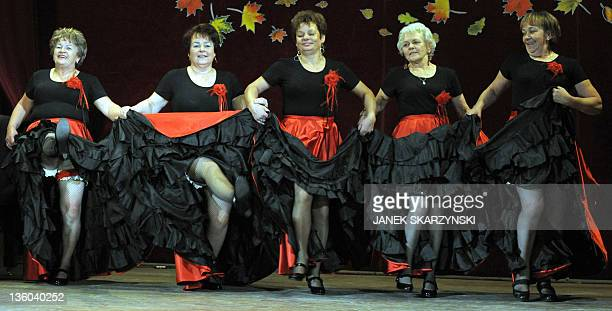Members of the Barborka pensioniers dancers group Gabriela Koscielniak Ola Szczepanska Halina Rycombel Anna Nierobis and Monika Bator perform the...