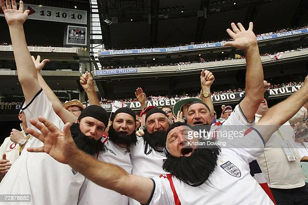 Members of the Barmy Army cheer duing day two of the fourth Ashes Test Match between Australia and England at the Melbourne Cricket Ground on...