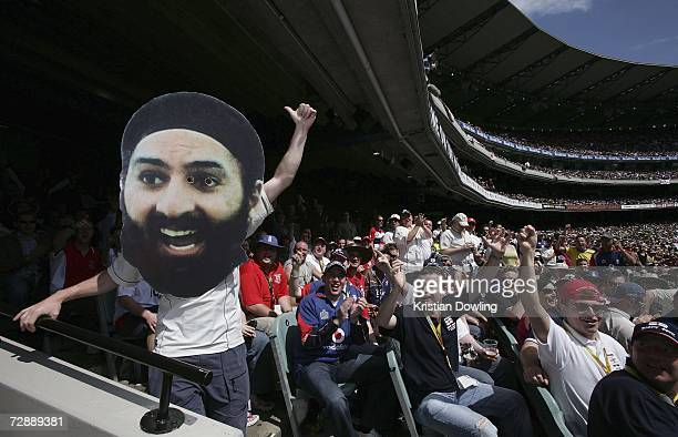 Members of the Barmy Army cheer during day three of the fourth Ashes Test Match between Australia and England at the Melbourne Cricket Ground on...