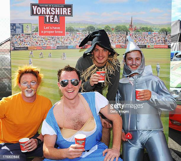 Members of the Barmy Army drink Yorkshire Tea during day two of the 3rd Investec Ashes Test match between England and Australia at Emirates Old...