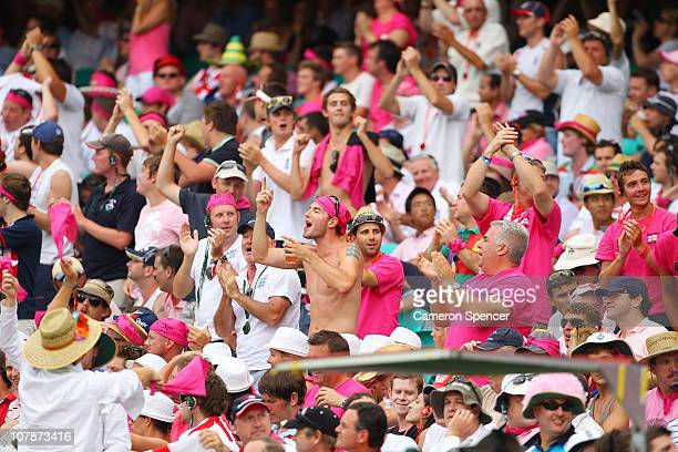Members of the Barmy Army enjoy the atmosphere during day three of the Fifth Ashes Test match between Australia and England at Sydney Cricket Ground...