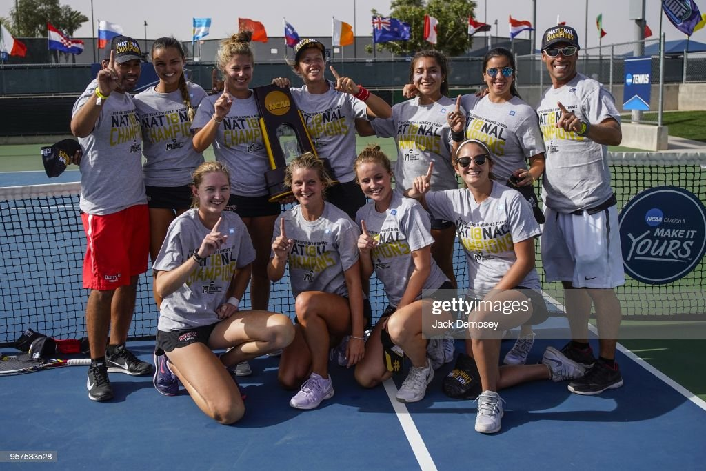 Members of the Barry Buccaneers celebrate their National Championship title win against the West Florida Argonauts during the Division II Women's Tennis Championship held at the Surprise Tennis & Racquet Club on May 11, 2018 in Surprise, Arizona.