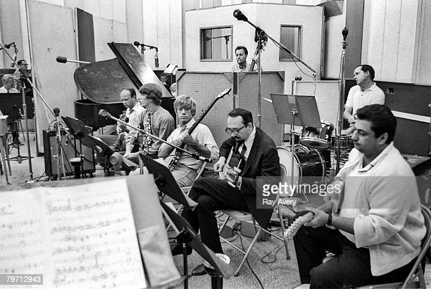 Members of the LA based session group of musicians known as the Wrecking Crew in Gold Star Recording Studios in 1965 in Los Angeles California...