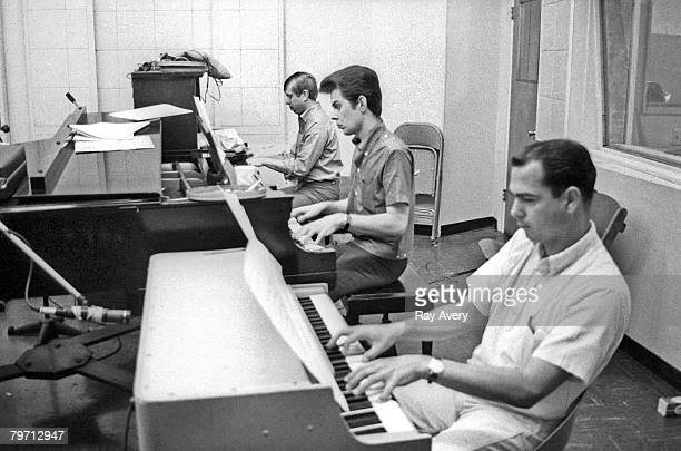 Members of the LA based session group of musicians known as the Wrecking Crew in Gold Star Recording Studios in 1965 in Los Angeles California LR Don...