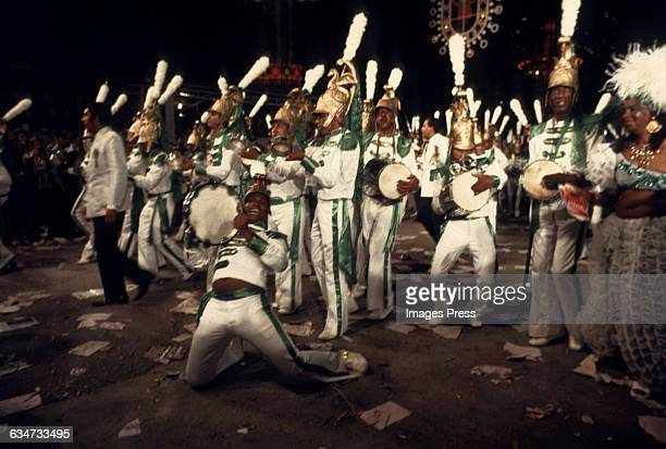 Members of the bateria also known as the drumming section of a samba school at the Carnival Parade circa 1972 in Rio de Janeiro Brazil
