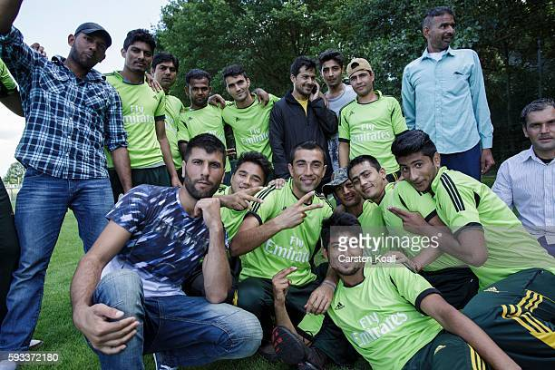 Members of the Bautzen cricket team posing for a team photo during a break in a friendly match against the Dresden cricket team on August 21 2016 in...