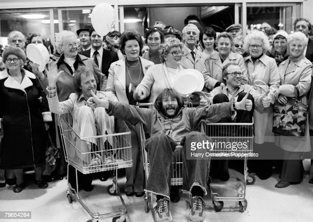 22nd May Blackpool England FineFare supermarket opening Sitting left to right in supermarket trolleys are TimBrookeTaylor Bill Oddie and Graeme...