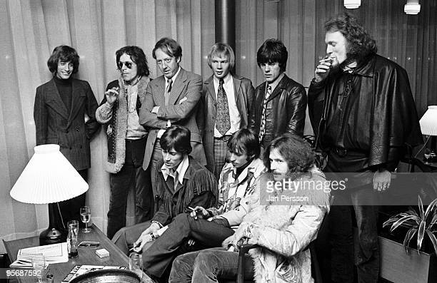 Members of The Bee Gees and Cream meet each other in a Copenhagen Hotel lobby in February 1968 L-R Robin Gibb, Jack Bruce, manager Robert Stigwood,...