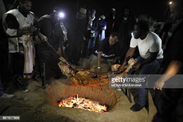 Members of the Beit Yisrael sect part of the African Hebrew Israelite Nation of Jerusalem lay a slaughtered a lamb on a fire during a Passover...