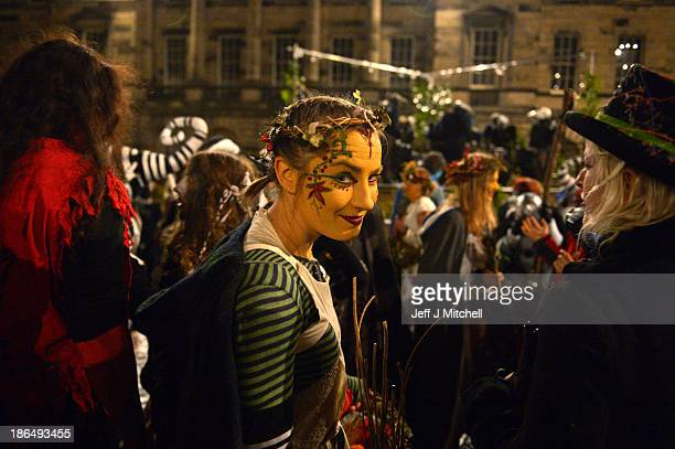 Members of the Beltain Fire Society take part in Samhuinn on the Royal Mile on October 31 2013 in Edinburgh Scotland Samhuinn is one of two festivals...