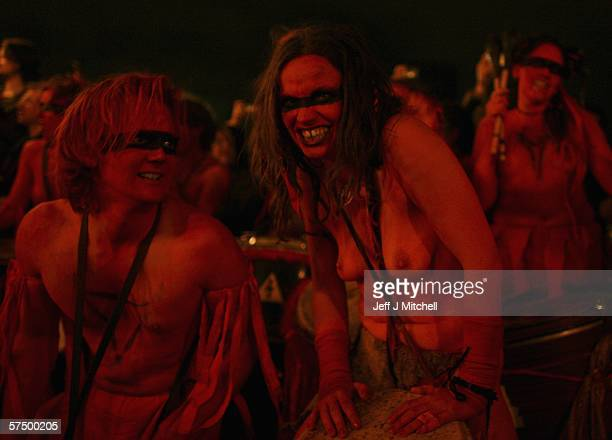 Members of the Beltane Fire Society are seen celebrating the coming of Summer on Calton Hill April 30 2006 in Edinburgh Scotland United Kingdom The...