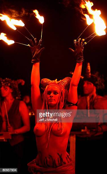 Members of the Beltane Fire Society celebrate the coming of summer by participating in the Beltane Fire Festival on Calton Hill April 30 2008 in...