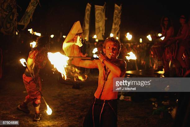 Members of the Beltane Society are seen celebrating the coming of Summer on Calton Hill on April 30 2006 in Edinburgh Scotland The procession is a...