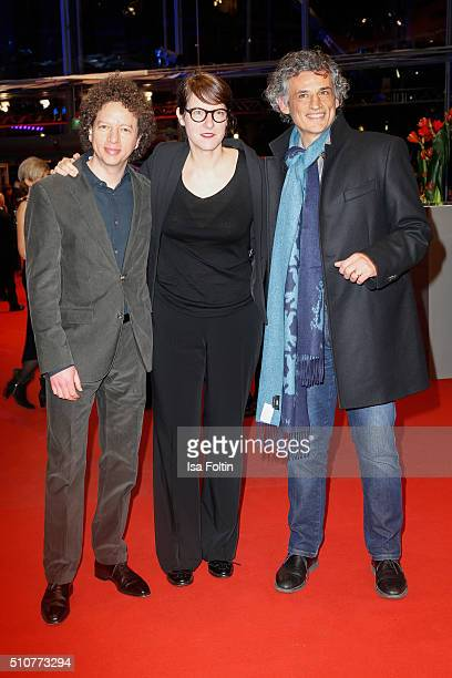 Members of the Best First Feature Award Producer Michel Franco Jury Director Ursula Meier and Actor Enrico Lo Verso attend the 'Genius' Premiere 66th...