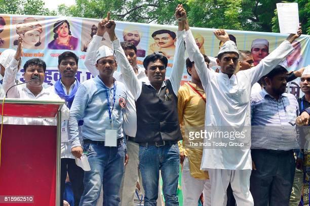 Members of the Bhim Army during a protest at Jantar Mantarin New Delhi