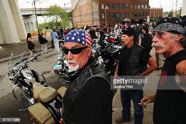 Members of the Bikers for Trump motorcycle group attend a rally for Donald Trump on the first day of the Republican National Convention on July 18...