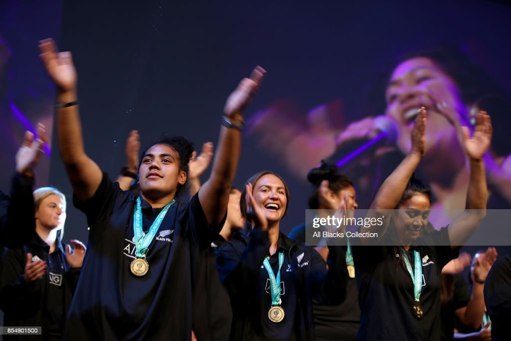 Members of the Black Ferns dance on stage during the New Zealand Black Ferns Womens Rugby World Cup celebration event at Vodafone Events Centre on September 28, 2017 in Manukau City, New Zealand. The New Zealand Black Ferns continue celebrations for their 2017 Rugby World Cup win.