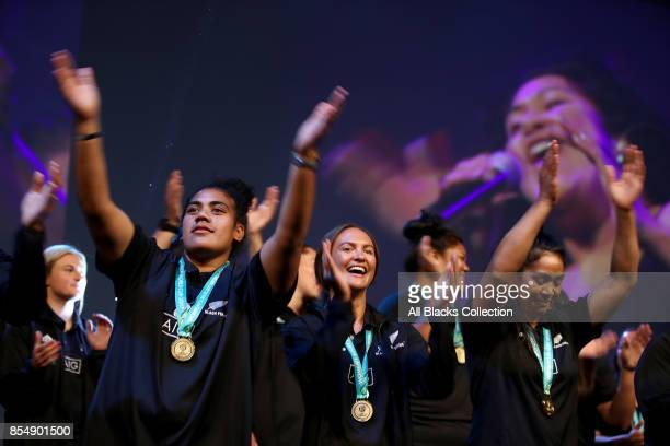 Members of the Black Ferns dance on stage during the New Zealand Black Ferns Womens Rugby World Cup celebration event at Vodafone Events Centre on...