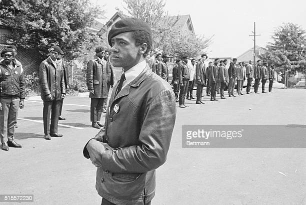 Members of the Black Panther Party participate in a close order drill during the funeral services for Black Panther member Bobby James Hutton age 17...