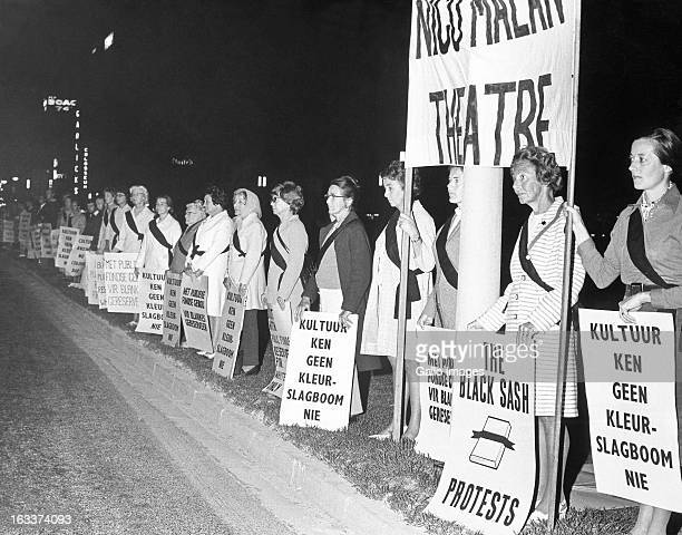 Members of the Black Sash movement a nonviolent white women's resistance organisation demonstrating in the streets of Cape Town against apartheid on...