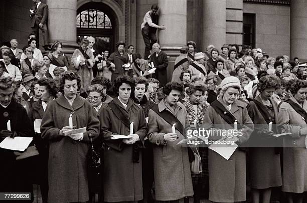 Members of the Black Sash organisation protest against apartheid laws outside Johannesburg City Hall circa 1955 The Black Sash consisted of white...