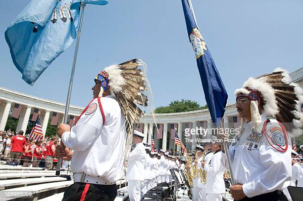 Members of the Blackfeet Tribe from Browning Montana part of the Honor Guard depart the amphitheater during a Memorial Day ceremony at Arlington...