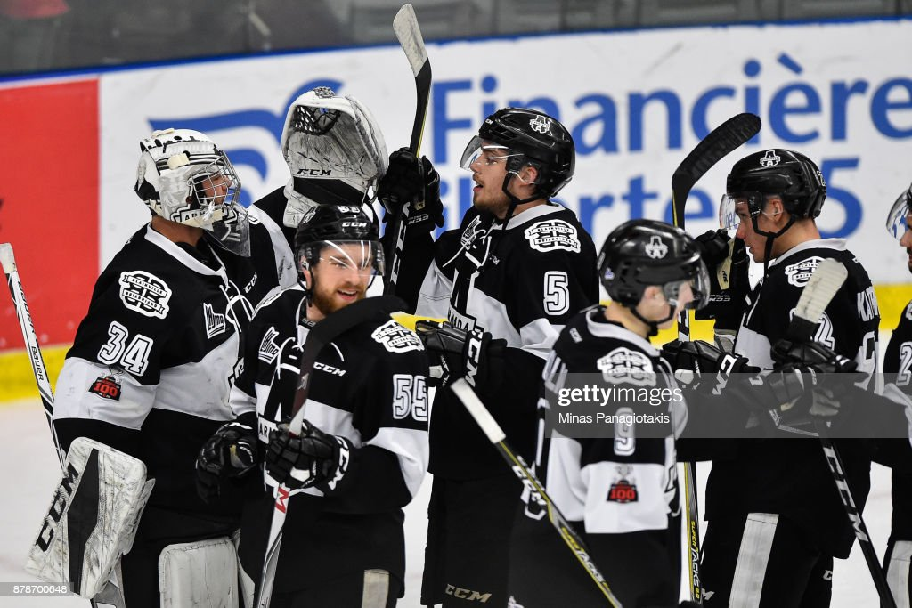 Members of the Blainville-Boisbriand Armada celebrate their victory against the Baie-Comeau Drakkar during the QMJHL game at Centre d'Excellence Sports Rousseau on November 24, 2017 in Boisbriand, Quebec, Canada. The Blainville-Boisbriand Armada defeated the Baie-Comeau Drakkar 5-3.